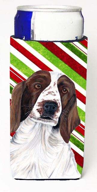 Carolines Treasures SC9340MUK Welsh Springer Spaniel Candy Cane Holiday Christmas Michelob Ultra bottle sleeves For Slim Cans - 12 oz.