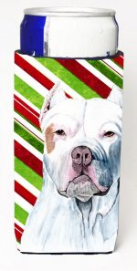 Carolines Treasures SC9341MUK Pit Bull Candy Cane Holiday Christmas Michelob Ultra bottle sleeves For Slim Cans - 12 oz.