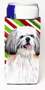 Carolines Treasures SC9343MUK Shih Tzu Candy Cane Holiday Christmas Michelob Ultra bottle sleeves For Slim Cans - 12 oz.
