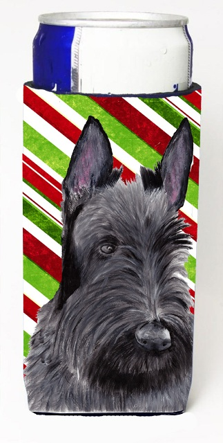 Carolines Treasures SC9346MUK Scottish Terrier Candy Cane Holiday Christmas Michelob Ultra bottle sleeves For Slim Cans - 12 oz.