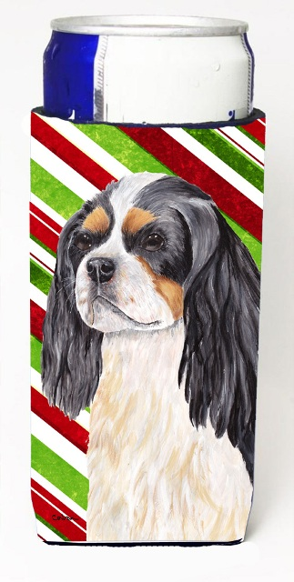 Carolines Treasures SC9351MUK Cavalier Spaniel Candy Cane Holiday Christmas Michelob Ultra bottle sleeves For Slim Cans - 12 oz.