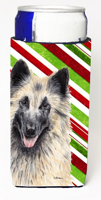 Carolines Treasures SC9352MUK Belgian Tervuren Candy Cane Holiday Christmas Michelob Ultra bottle sleeves For Slim Cans - 12 oz.
