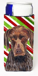 Carolines Treasures SC9355MUK German Shorthaired Pointer Candy Cane Holiday Christmas Michelob Ultra bottle sleeves For Slim Cans - 12 oz.