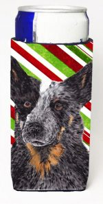 Carolines Treasures SC9356MUK Australian Cattle Dog Candy Cane Holiday Christmas Michelob Ultra bottle sleeves For Slim Cans - 12 oz.