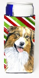 Carolines Treasures SC9357MUK Australian Shepherd Candy Cane Holiday Christmas Michelob Ultra bottle sleeves For Slim Cans - 12 oz.