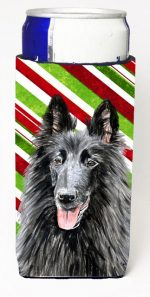 Carolines Treasures SC9358MUK Belgian Sheepdog Candy Cane Holiday Christmas Michelob Ultra bottle sleeves For Slim Cans - 12 oz.