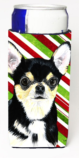Carolines Treasures SC9359MUK Chihuahua Candy Cane Holiday Christmas Michelob Ultra bottle sleeves For Slim Cans - 12 oz.