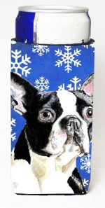 Carolines Treasures SC9360MUK Boston Terrier Winter Snowflakes Holiday Michelob Ultra bottle sleeves For Slim Cans - 12 oz.