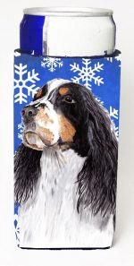 Carolines Treasures SC9361MUK Springer Spaniel Winter Snowflakes Holiday Michelob Ultra bottle sleeves For Slim Cans - 12 oz.