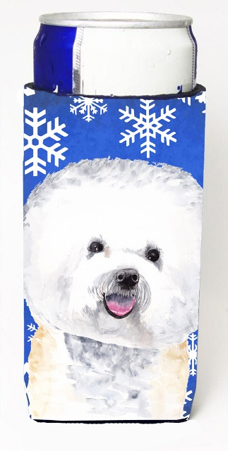 Carolines Treasures SC9362MUK Bichon Frise Winter Snowflakes Holiday Michelob Ultra bottle sleeves For Slim Cans - 12 oz.