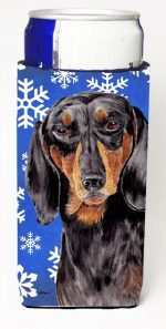 Carolines Treasures SC9363MUK Dachshund Winter Snowflakes Holiday Michelob Ultra bottle sleeves For Slim Cans - 12 oz.