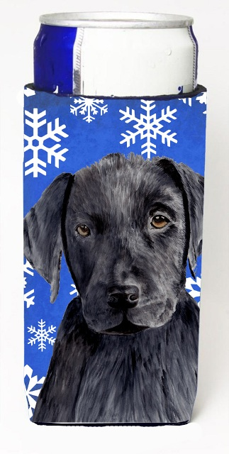 Carolines Treasures SC9364MUK Labrador Winter Snowflakes Holiday Michelob Ultra bottle sleeves For Slim Cans - 12 oz.