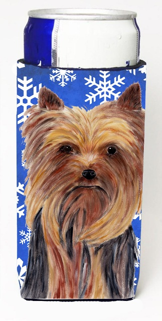 Carolines Treasures SC9365MUK Yorkie Winter Snowflakes Holiday Michelob Ultra bottle sleeves For Slim Cans - 12 oz.