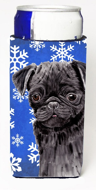 Carolines Treasures SC9366MUK Pug Winter Snowflakes Holiday Michelob Ultra bottle sleeves For Slim Cans - 12 oz.