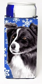 Carolines Treasures SC9367MUK Border Collie Winter Snowflakes Holiday Michelob Ultra bottle sleeves For Slim Cans - 12 oz.