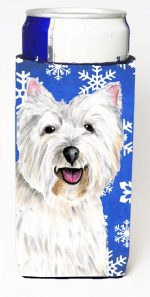 Carolines Treasures SC9370MUK Westie Winter Snowflakes Holiday Michelob Ultra bottle sleeves For Slim Cans - 12 oz.