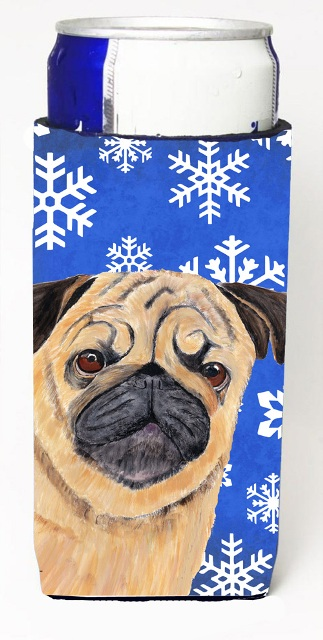 Carolines Treasures SC9371MUK Pug Winter Snowflakes Holiday Michelob Ultra bottle sleeves For Slim Cans - 12 oz.