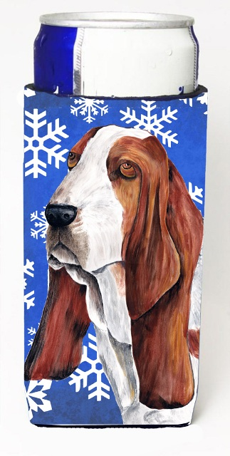 Carolines Treasures SC9372MUK Basset Hound Winter Snowflakes Holiday Michelob Ultra bottle sleeves For Slim Cans - 12 oz.