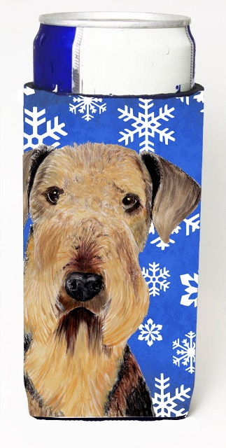 Carolines Treasures SC9373MUK Airedale Winter Snowflakes Holiday Michelob Ultra bottle sleeves For Slim Cans - 12 oz.