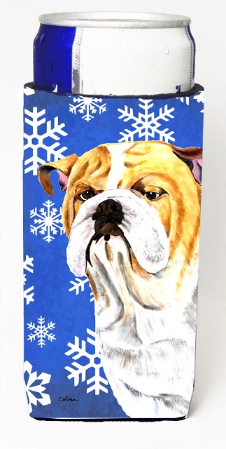 Carolines Treasures SC9374MUK Bulldog English Winter Snowflakes Holiday Michelob Ultra bottle sleeves For Slim Cans - 12 oz.