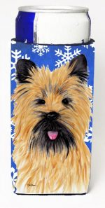 Carolines Treasures SC9375MUK Cairn Terrier Winter Snowflakes Holiday Michelob Ultra bottle sleeves For Slim Cans - 12 oz.