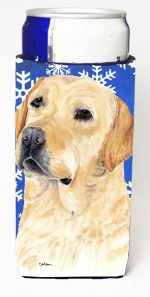 Carolines Treasures SC9376MUK Labrador Winter Snowflakes Holiday Michelob Ultra bottle sleeves For Slim Cans - 12 oz.