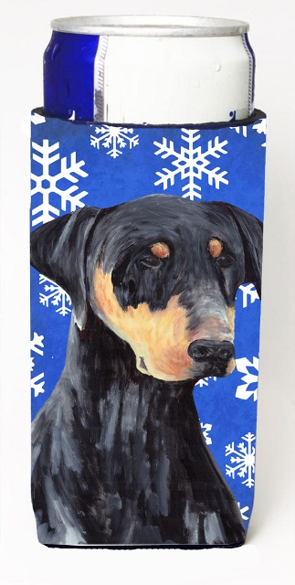 Carolines Treasures SC9377MUK Doberman Winter Snowflakes Holiday Michelob Ultra bottle sleeves For Slim Cans - 12 oz.