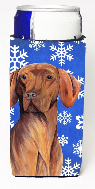 Carolines Treasures SC9378MUK Vizsla Winter Snowflakes Holiday Michelob Ultra bottle sleeves For Slim Cans - 12 oz.