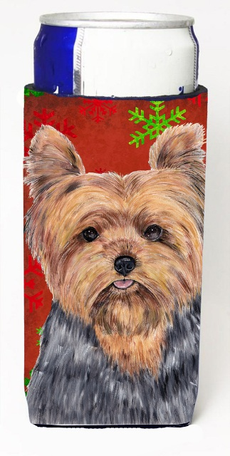Carolines Treasures SC9428MUK Yorkie Red & Green Snowflakes Holiday Christmas Michelob Ultra s For Slim Cans - 12 oz.