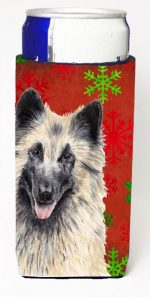 Carolines Treasures SC9432MUK Belgian Tervuren Red & Green Snowflakes Holiday Christmas Michelob Ultra s For Slim Cans - 12 oz.