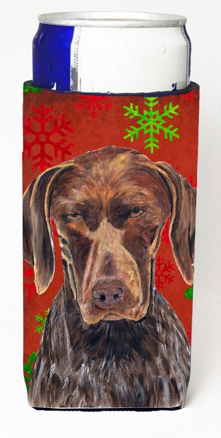 Carolines Treasures SC9435MUK German Shorthaired Pointer Red Snowflakes Holiday Christmas Michelob Ultra s For Slim Cans - 12 oz.