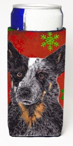 Carolines Treasures SC9436MUK Australian Cattle Dog Red Green Snowflakes Christmas Michelob Ultra s For Slim Cans - 12 oz.