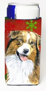 Carolines Treasures SC9437MUK Australian Shepherd Red Green Snowflakes Christmas Michelob Ultra s For Slim Cans - 12 oz.