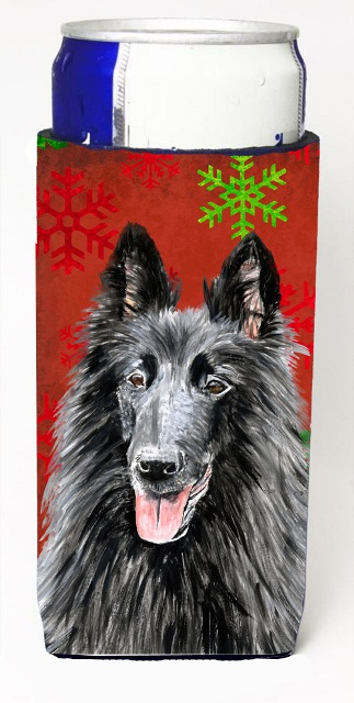 Carolines Treasures SC9438MUK Belgian Sheepdog Red & Green Snowflakes Holiday Christmas Michelob Ultra s For Slim Cans - 12 oz.