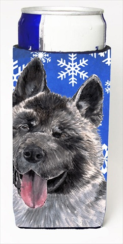 Carolines Treasures SC9481MUK Akita Winter Snowflakes Holiday Michelob Ultra bottle sleeves For Slim Cans - 12 Oz.