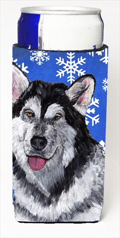 Carolines Treasures SC9491MUK Alaskan Malamute Winter Snowflakes Holiday Michelob Ultra bottle sleeves For Slim Cans - 12 Oz.