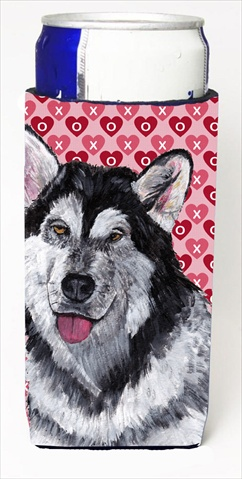 Carolines Treasures SC9494MUK Alaskan Malamute Hearts Love And Valentines Day Michelob Ultra bottle sleeves For Slim Cans - 12 Oz.