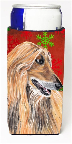 Carolines Treasures SC9501MUK Afghan Hound Red Snowflakes Holiday Christmas Michelob Ultra bottle sleeves For Slim Cans - 12 Oz.