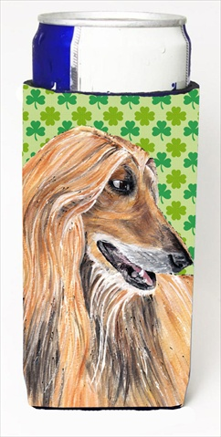 Carolines Treasures SC9502MUK Afghan Hound St. Patricks Day Shamrock Michelob Ultra bottle sleeves For Slim Cans - 12 Oz.