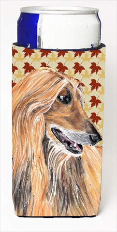 Carolines Treasures SC9504MUK Afghan Hound Fall Leaves Michelob Ultra bottle sleeves For Slim Cans - 12 Oz.