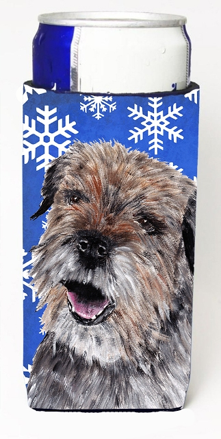 Carolines Treasures SC9599MUK Border Terrier Blue Snowflake Winter Michelob Ultra bottle sleeves For Slim Cans - 12 oz.