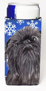 Carolines Treasures SC9601MUK Brussels Griffon Blue Snowflake Winter Michelob Ultra bottle sleeves For Slim Cans - 12 oz.