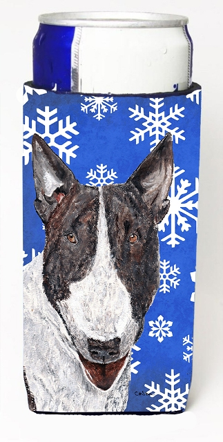 Carolines Treasures SC9603MUK Bull Terrier Blue Snowflake Winter Michelob Ultra bottle sleeves For Slim Cans - 12 oz.