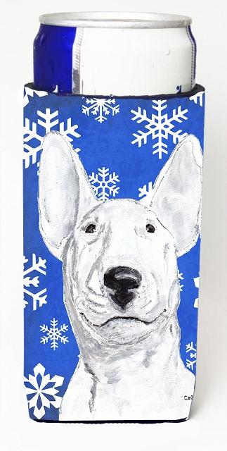 Carolines Treasures SC9604MUK Bull Terrier Blue Snowflake Winter Michelob Ultra bottle sleeves For Slim Cans - 12 oz.