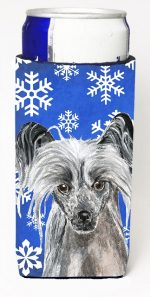 Carolines Treasures SC9606MUK Chinese Crested Blue Snowflake Winter Michelob Ultra bottle sleeves For Slim Cans - 12 oz.