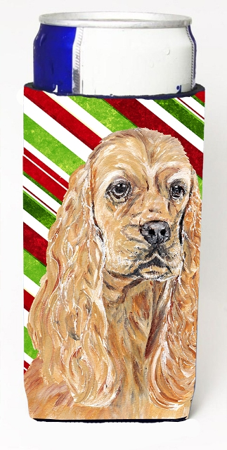 Carolines Treasures SC9612MUK Cocker Spaniel Candy Cane Christmas Michelob Ultra bottle sleeves For Slim Cans - 12 oz.