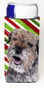 Carolines Treasures SC9613MUK Border Terrier Candy Cane Christmas Michelob Ultra bottle sleeves For Slim Cans - 12 oz.