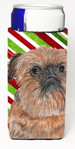 Carolines Treasures SC9614MUK Brussels Griffon Candy Cane Christmas Michelob Ultra bottle sleeves For Slim Cans - 12 oz.