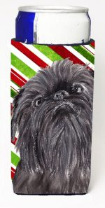 Carolines Treasures SC9615MUK Brussels Griffon Candy Cane Christmas Michelob Ultra bottle sleeves For Slim Cans - 12 oz.