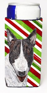 Carolines Treasures SC9617MUK Bull Terrier Candy Cane Christmas Michelob Ultra bottle sleeves For Slim Cans - 12 oz.